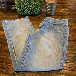 Other - Girls Spandex Blue Jeans 12 Embroidered Stitching